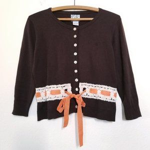 TABITHA   Cotton Belted Cardigan Sweater Brown Med